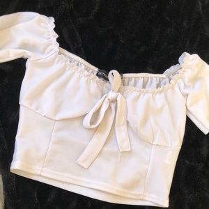 Pretty Little Thing White crop top